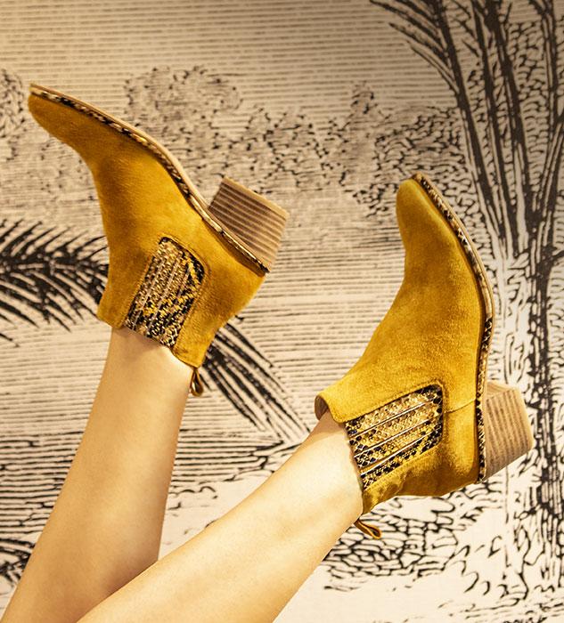 Boots Nina Jaune et imprimé python