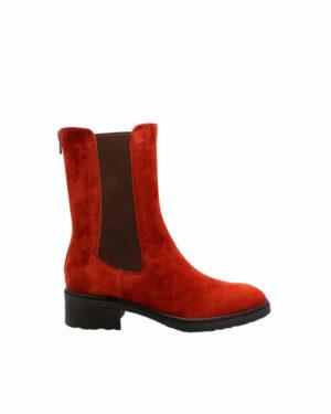 Bottines Damgan velours rouge femme