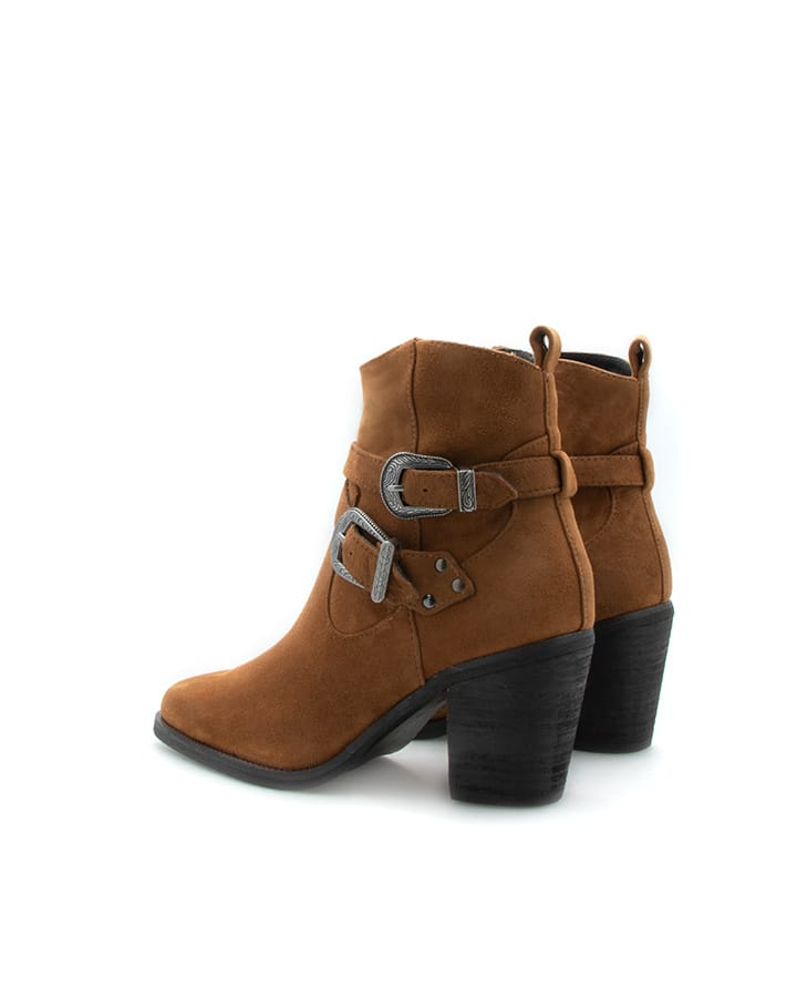Bottines Elvis en velours marron