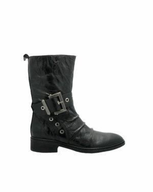 Mi-bottes Givors en cuir noir