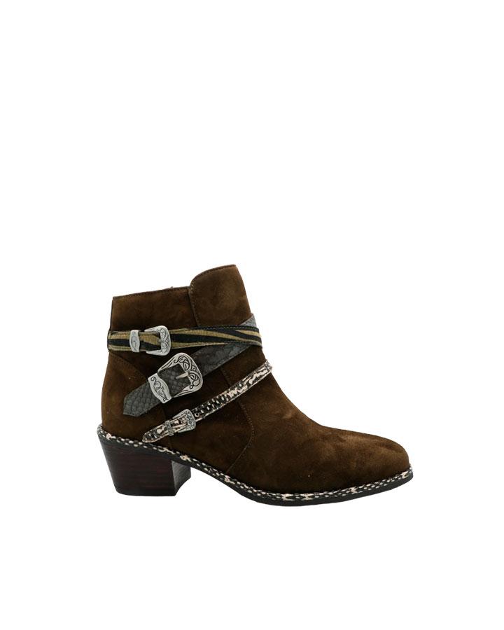 Boots Napoli en velours kaki