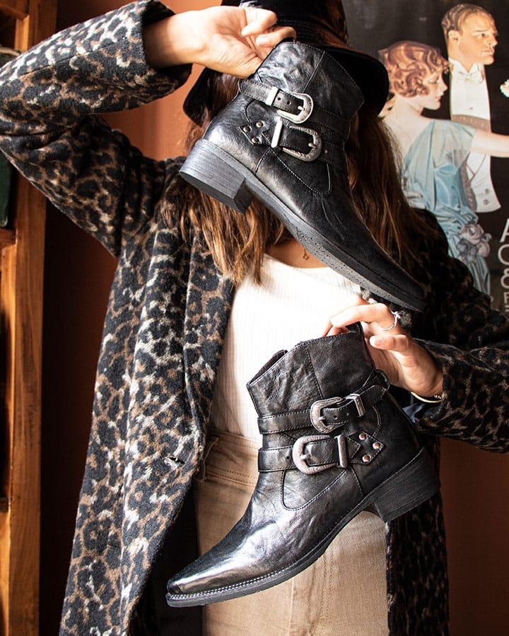 Boots cuir noir Baule rock