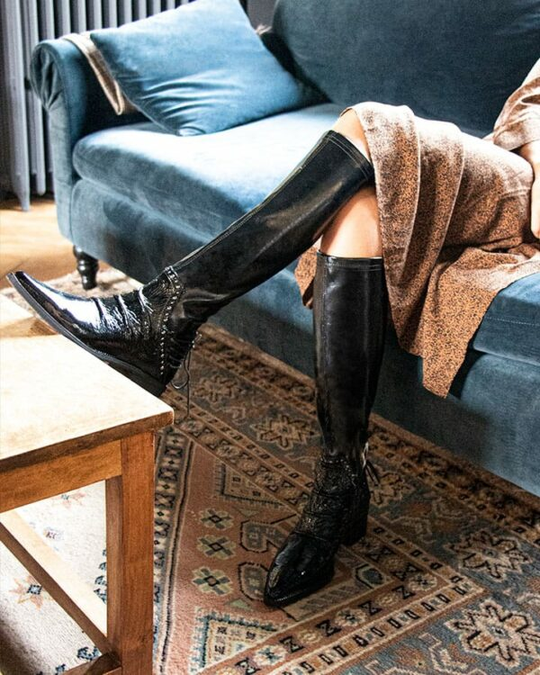 Bottes femme rock vernies noires Bidart