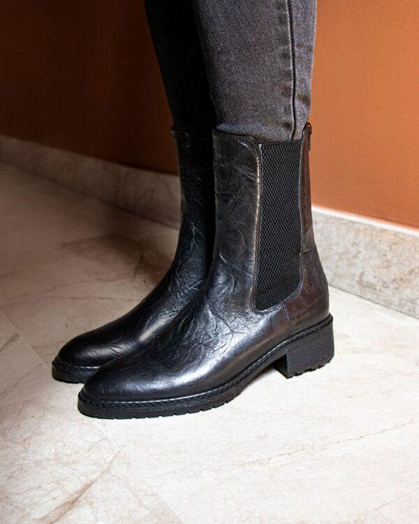 Boots Damgan cuir noir femme