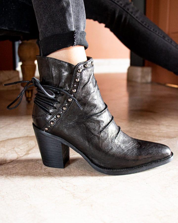 Bottines Evian en cuir noir pour femme