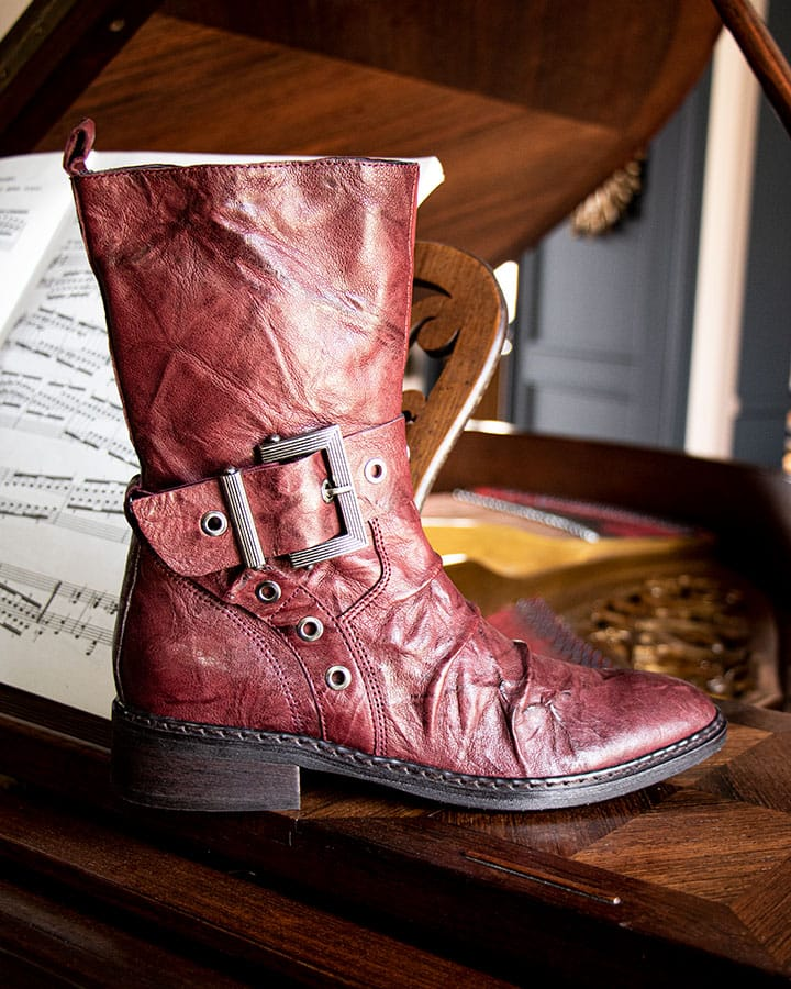 Mi-bottes Givors en cuir rouge