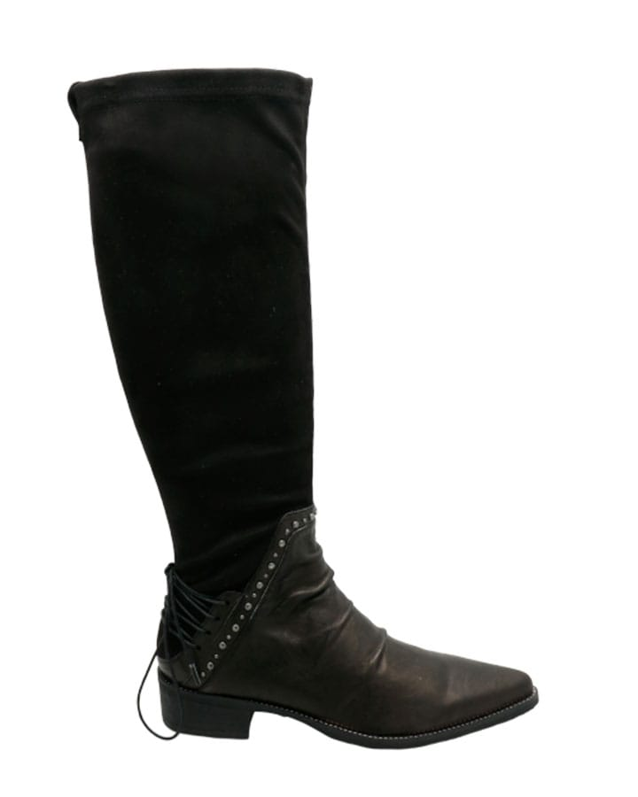 Botte Bidart cuir et stretch noires femme