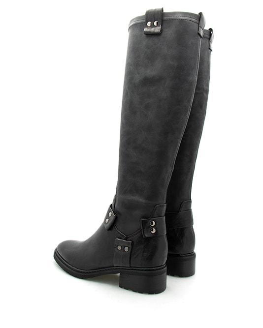 Douvres bottes cuir noir femme métal