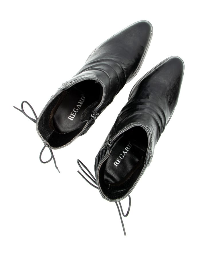 Boots Evian cuir noir talon femme