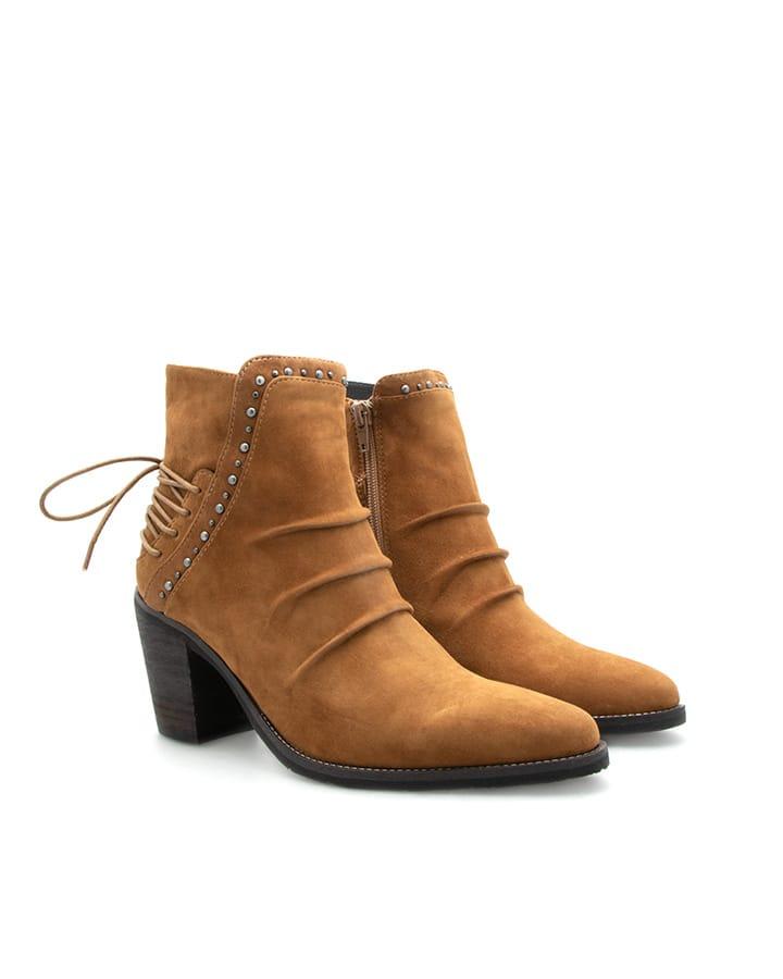 Boots Evian velours havane camel talon femme