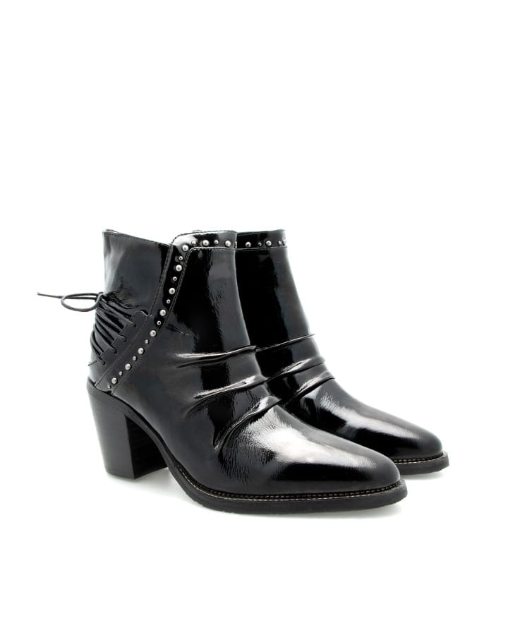 Boots Evian vernis noir talon femme