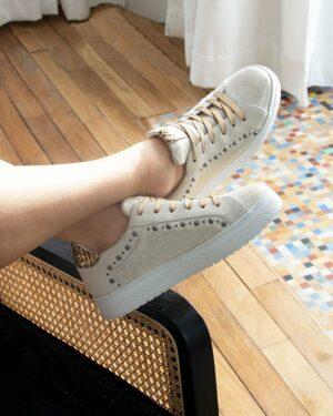 Baskets tendance cuir doré