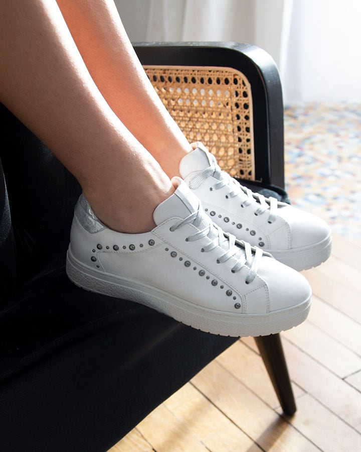 Baskets confort cuir blanc