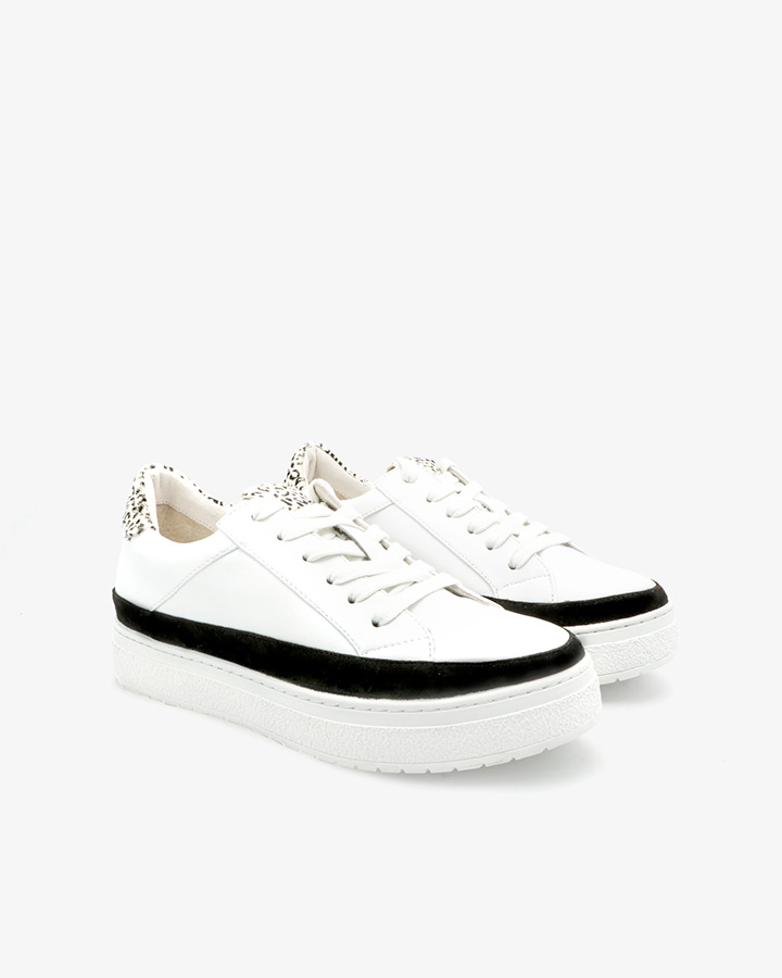 Baskets tendance cuir blanc