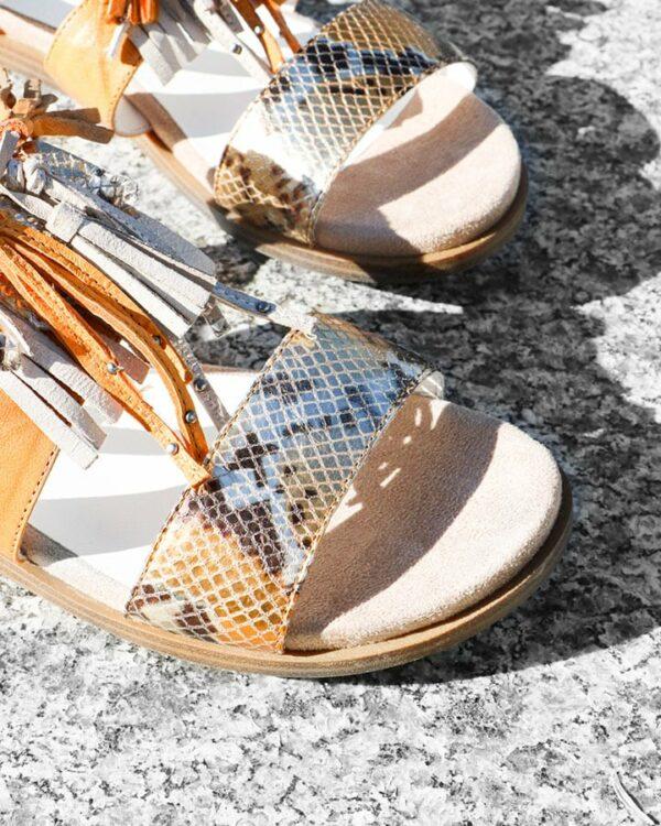 Sandales colorées Bastil cuir jaune