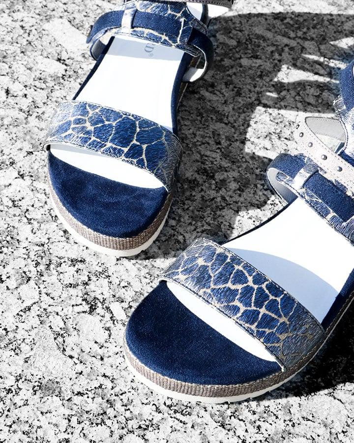 Sandales compensées bleu marine