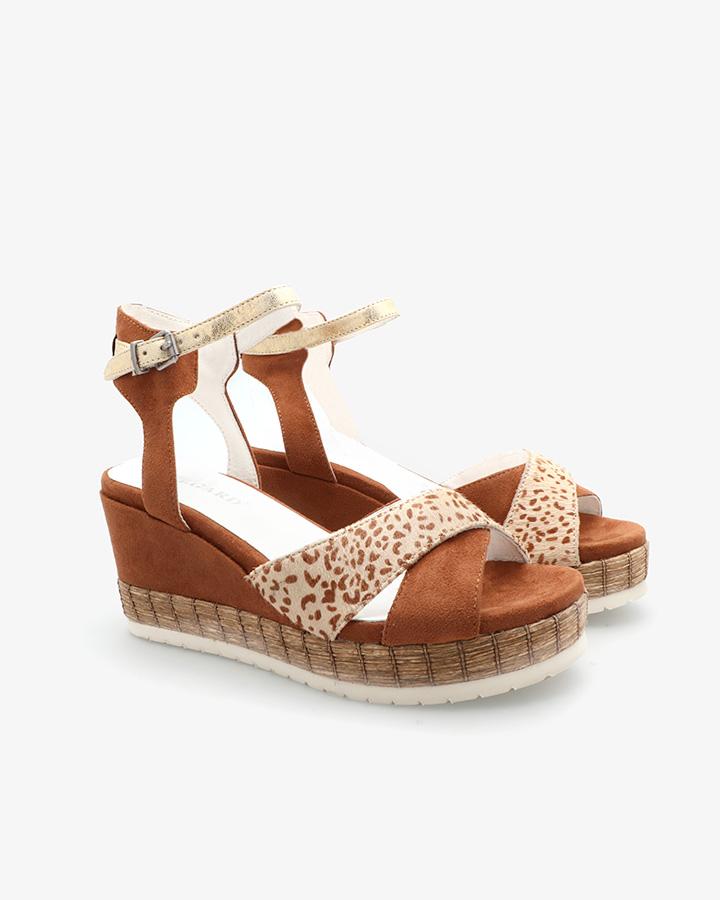 sandale talon compensé camel femme