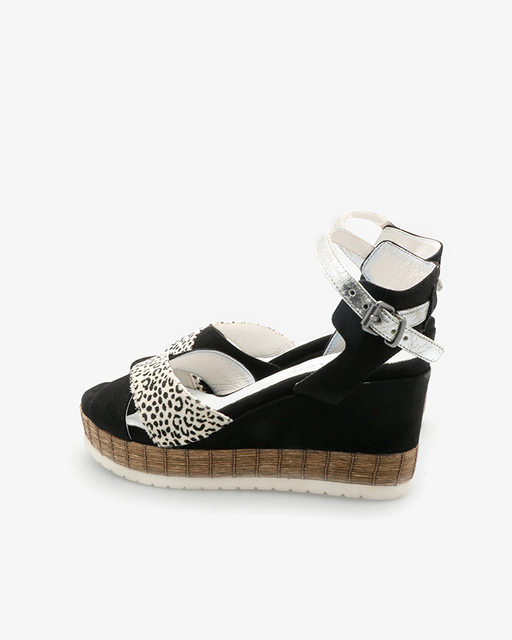 sandales compensées noires femme