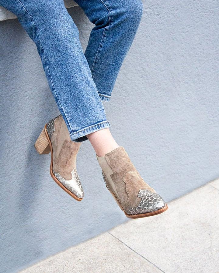 Boots rock Etoile velours beige
