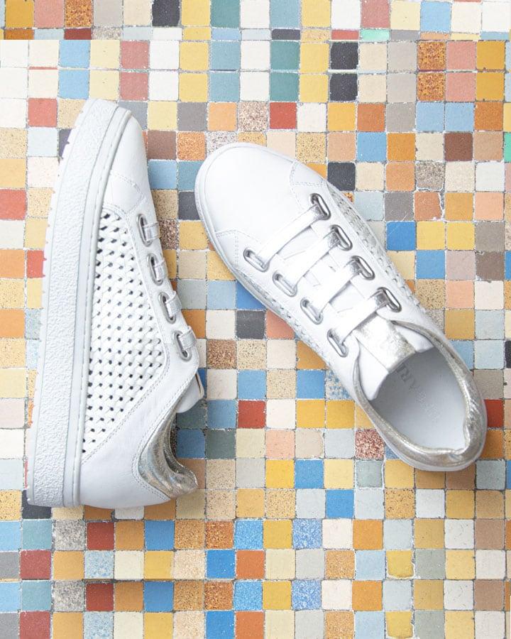 Sneakers cuir blanc ajouré