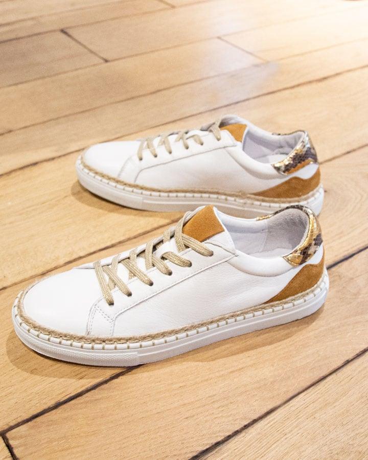 Sneakers cuir blanc safran