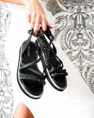 Sandales Rock Femme noir