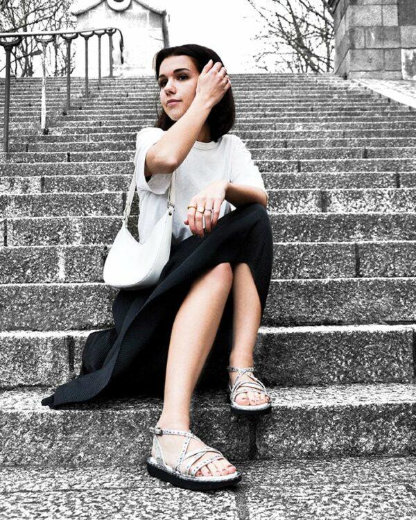 sandales argentées femme cuir