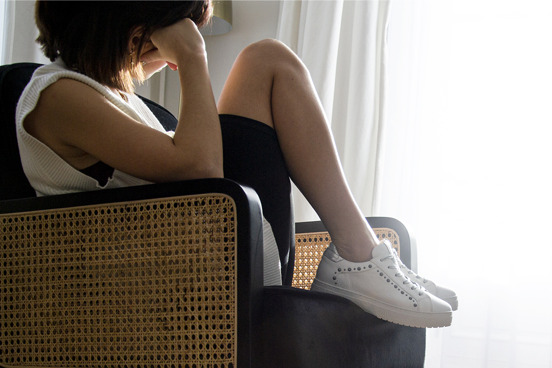 Baskets Havres cuir blanc argent