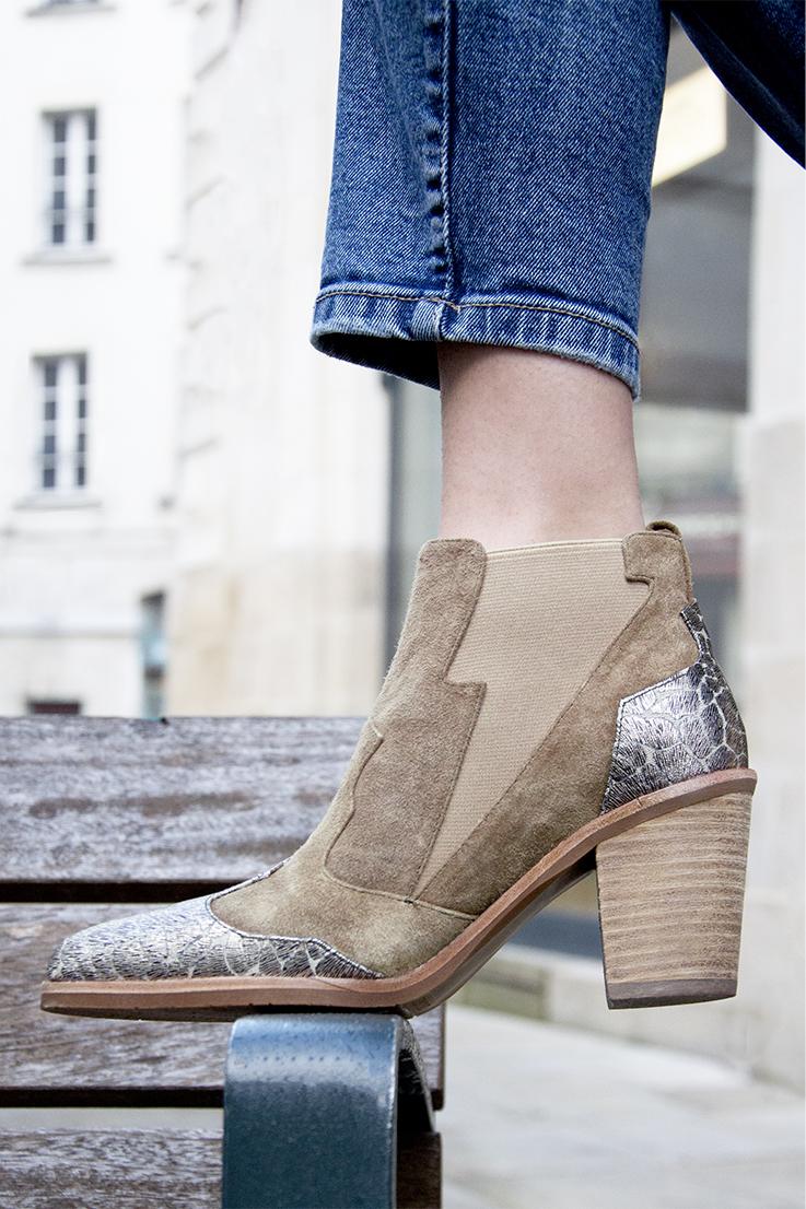 Boots Etoile velours beige