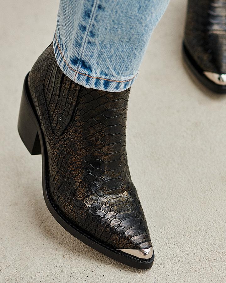 Boots imprimé python femme