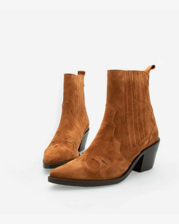 Bottines santiag cuir camel femme