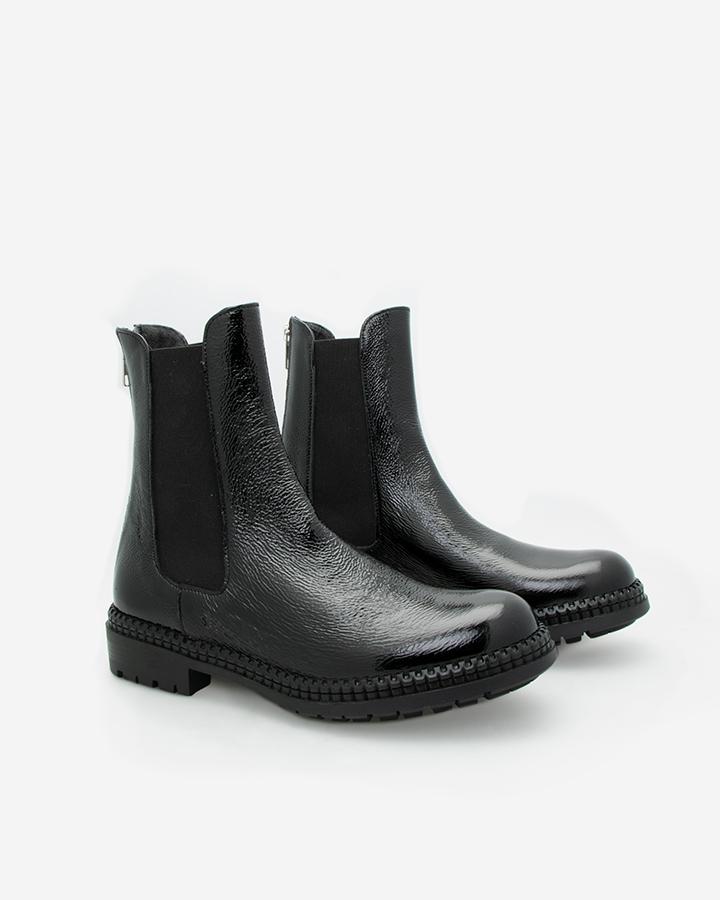 Boots vernis noir femme