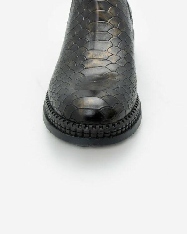 Boots python cuir femme