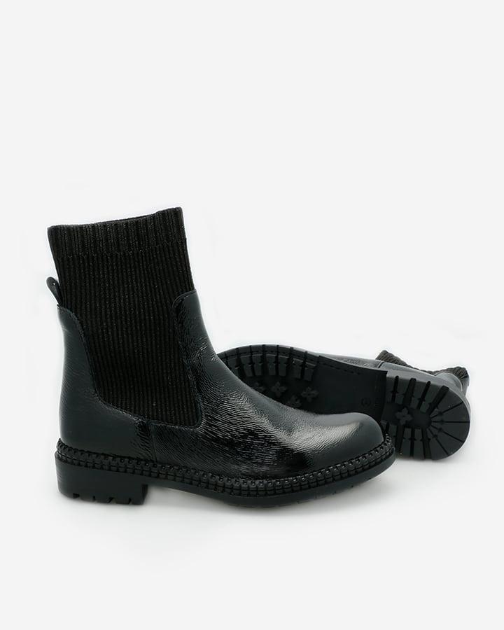 bottines noires vernies femme