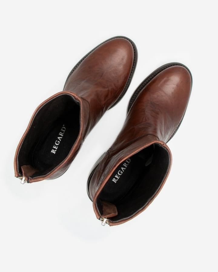 Boots femme cuir marron