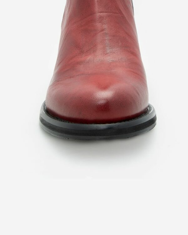 Bottines rouge femme cuir