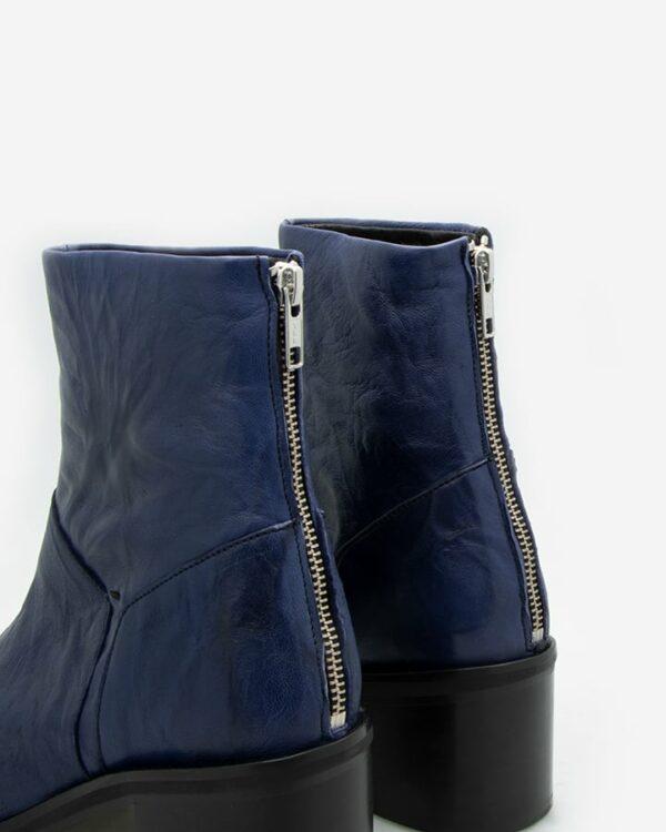Bottines femme bleu cuir
