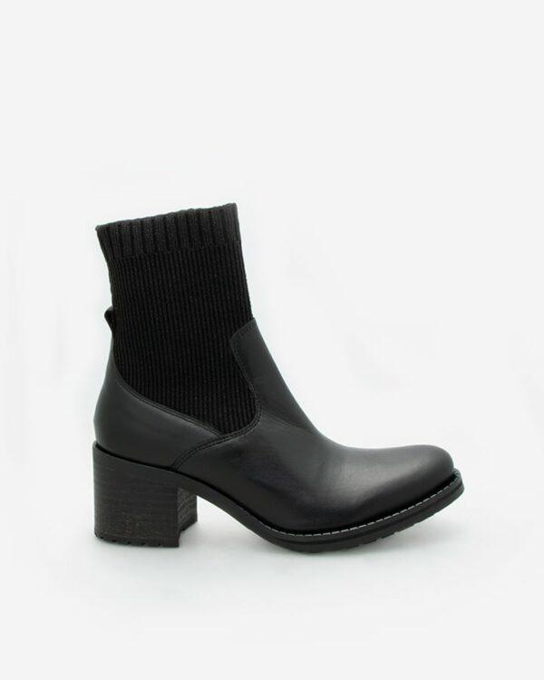 Bottines chaussettes cuir noir Ubix