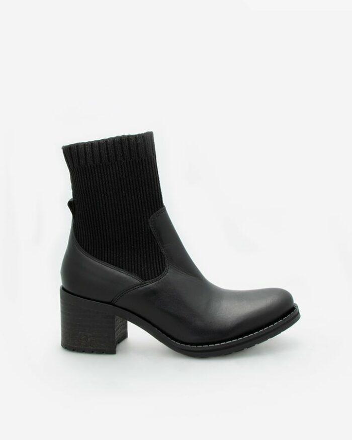 Bottines chaussettes cuir noir
