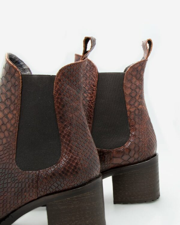 Bottines python cuir marron