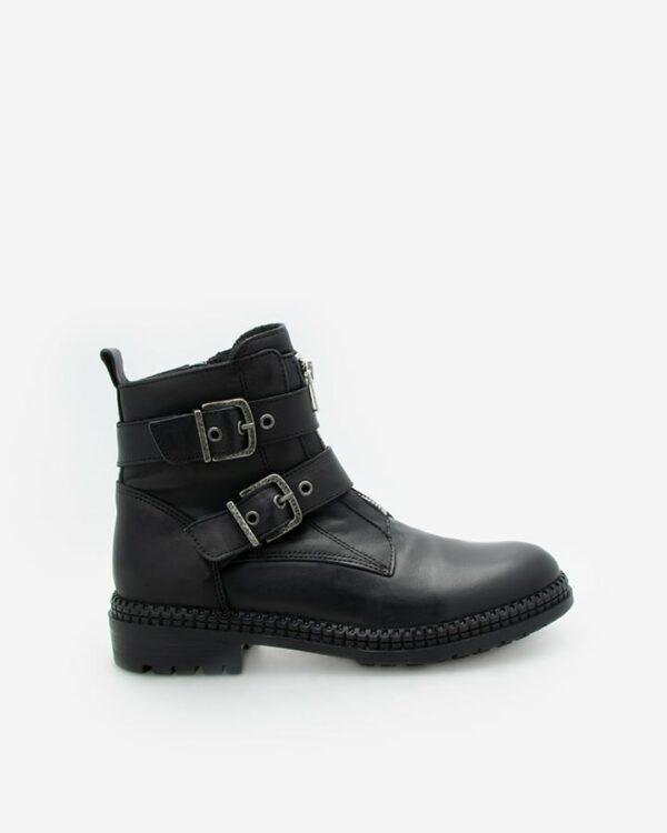 bottines motard femme cuir noir